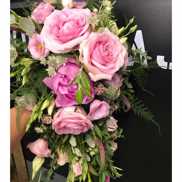 Pretty shower bouquet for a very pretty bride!..#pink #pretty #rose #peonies #wedding #bride #bridalbouquet #floristsofinstagram #weddingflowers #florist #victoriajaneflowers