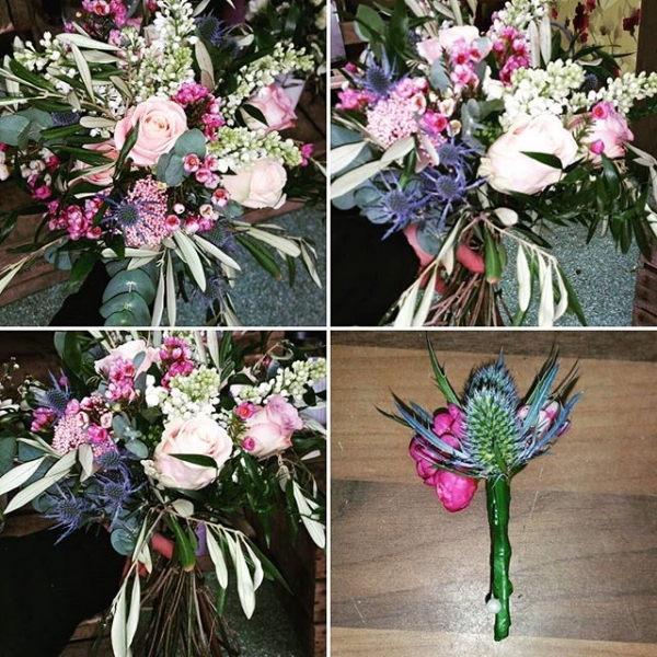 A rustic style wedding bouquet, with a hint of pink that pops!#wedding #weddingflowers #weddingbouquet #florists #daisyjanes #rustic #flowers #roses #eyringium #buttonhole