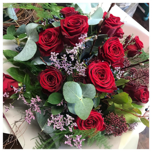 """Because nothing says """"I love you"""" as well as a spontaneous delivery of 12 red roses 🌹❤️ ..#romance #love #marriage #anniversary #roses #redroses #red #flower #delivery #shoplocal #independent #florist #victoriajaneflowers"""